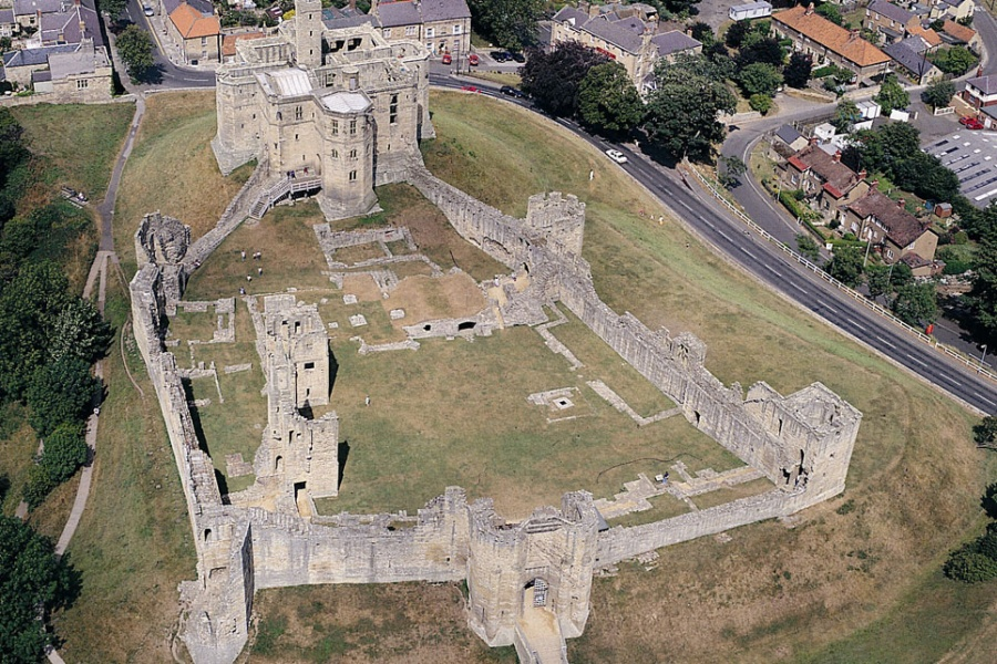 Aerial view of Warkworth Castle
