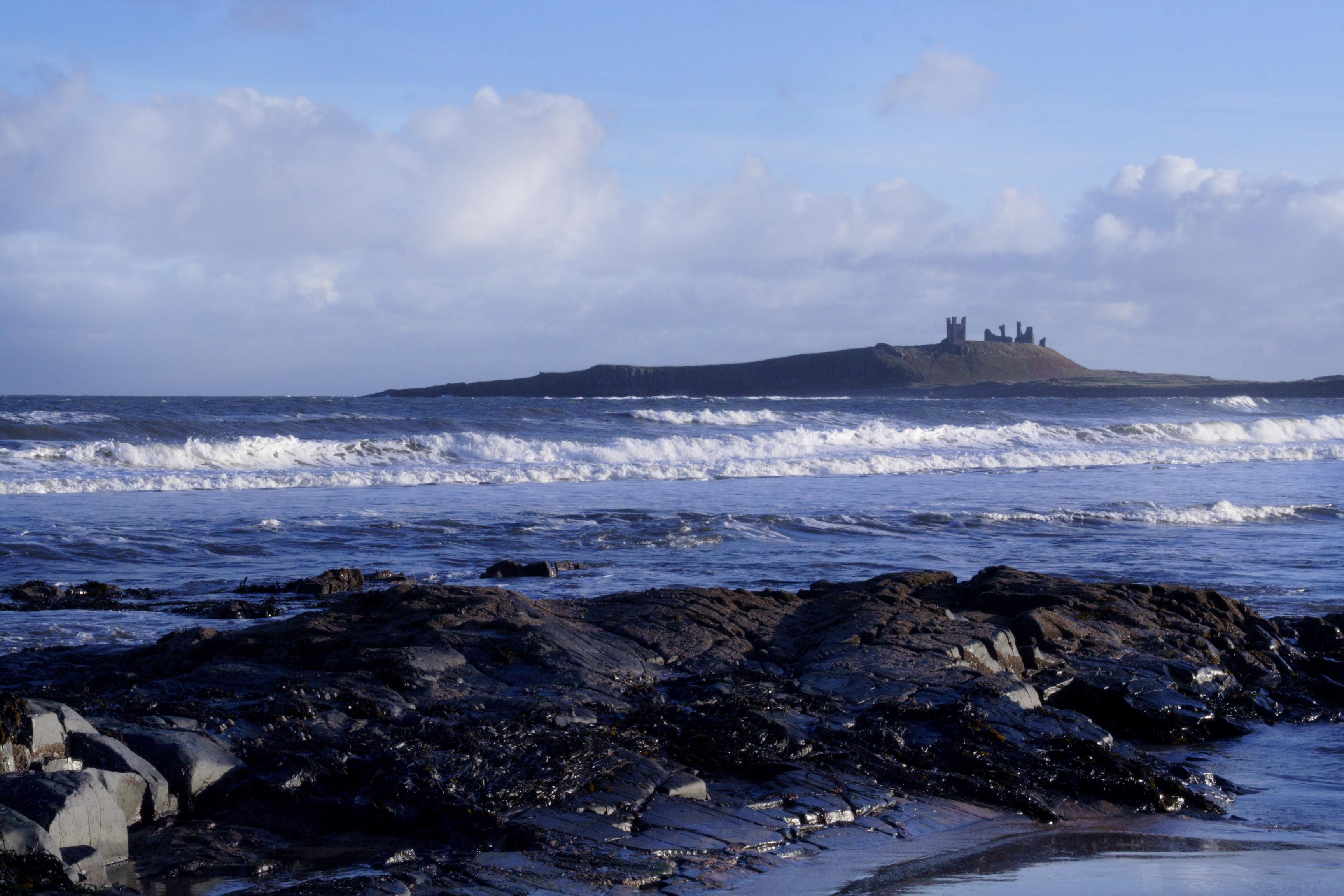 Dunstanburgh Castle in winter