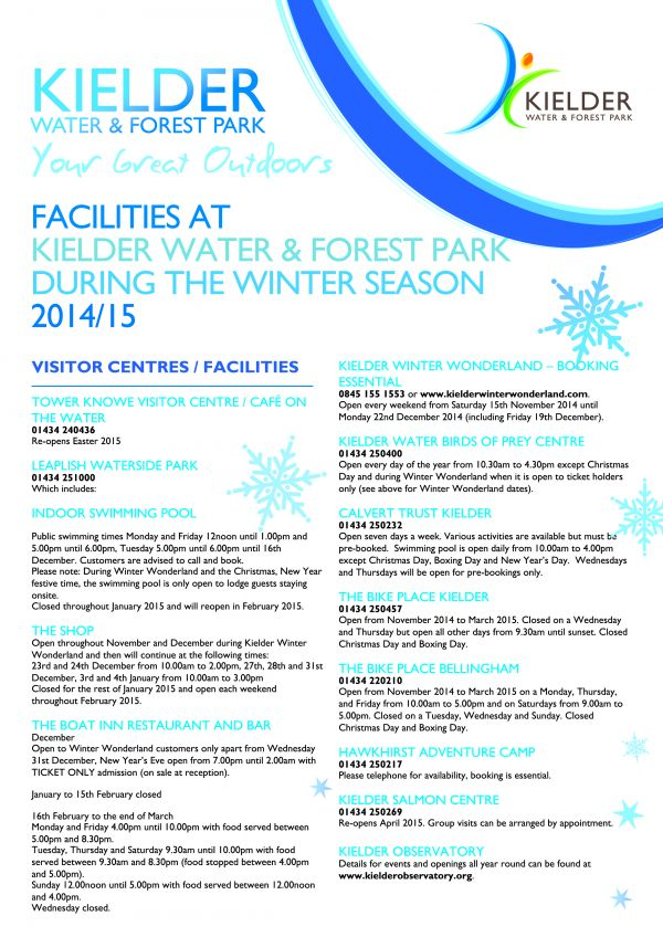 Kielder Winter Opening Details