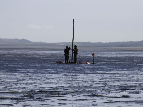 New poles maintain the way across the Lindisfarne sands